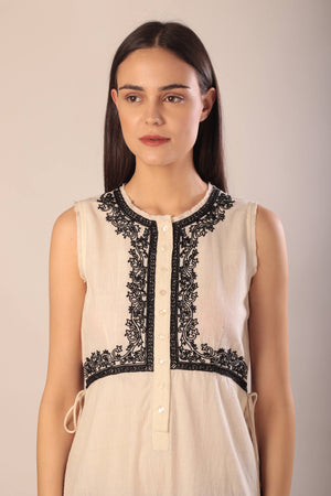 Petra cape in hand embroidered khadi cotton