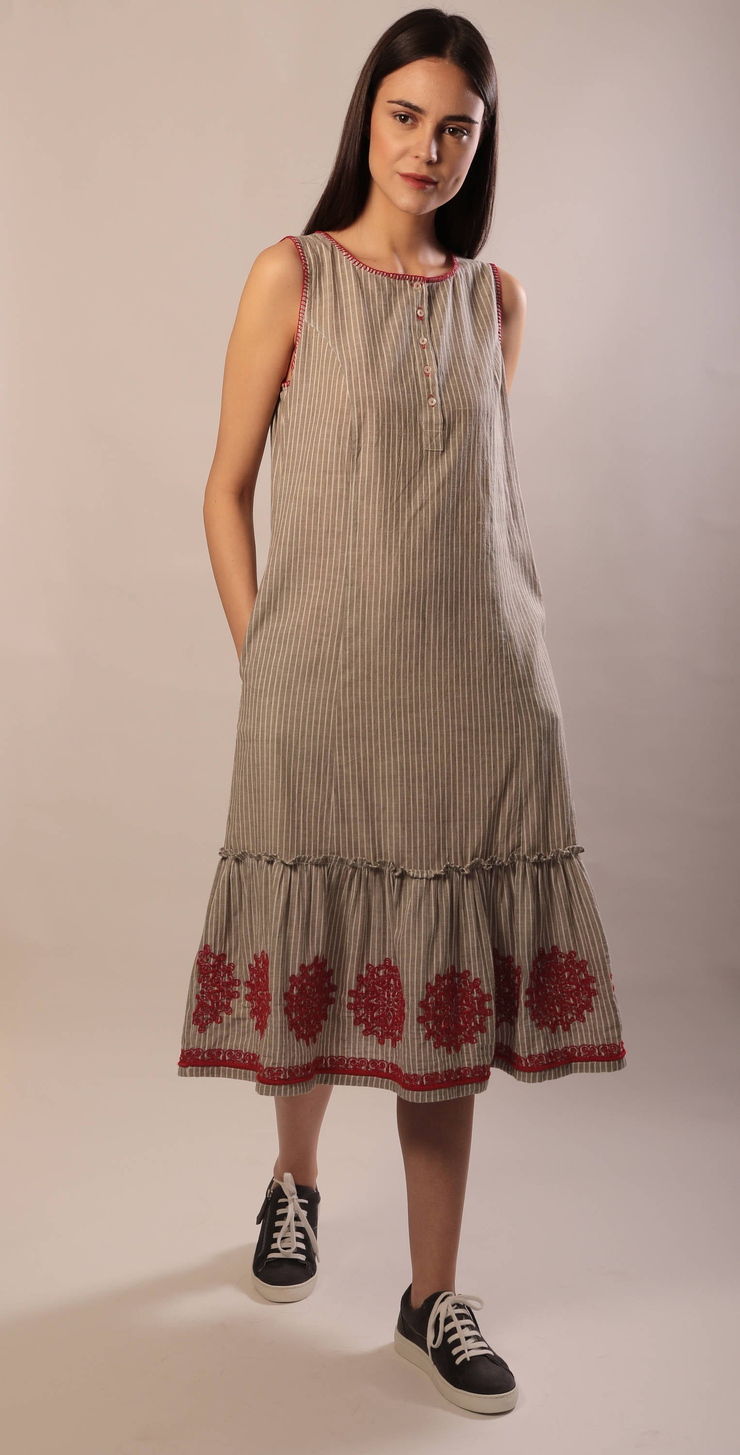 Jacqueline dress in hand embroidered khadi cotton
