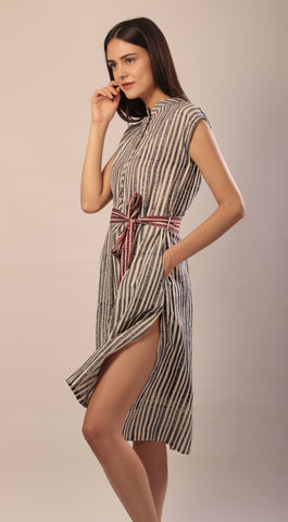 woman in black and white hand block printed ahimsa silk tunic shirt dress with tie up belt