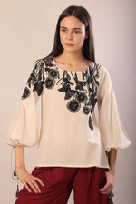 Rosie blouse in hand embroidered khadi cotton