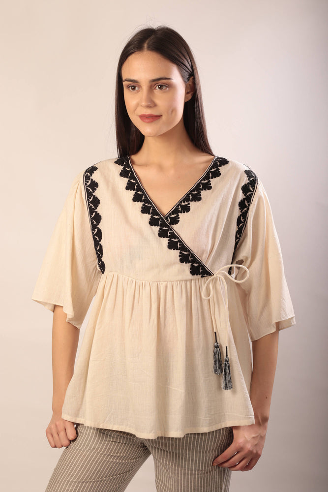 Andrea top in hand embroidered khadi cotton