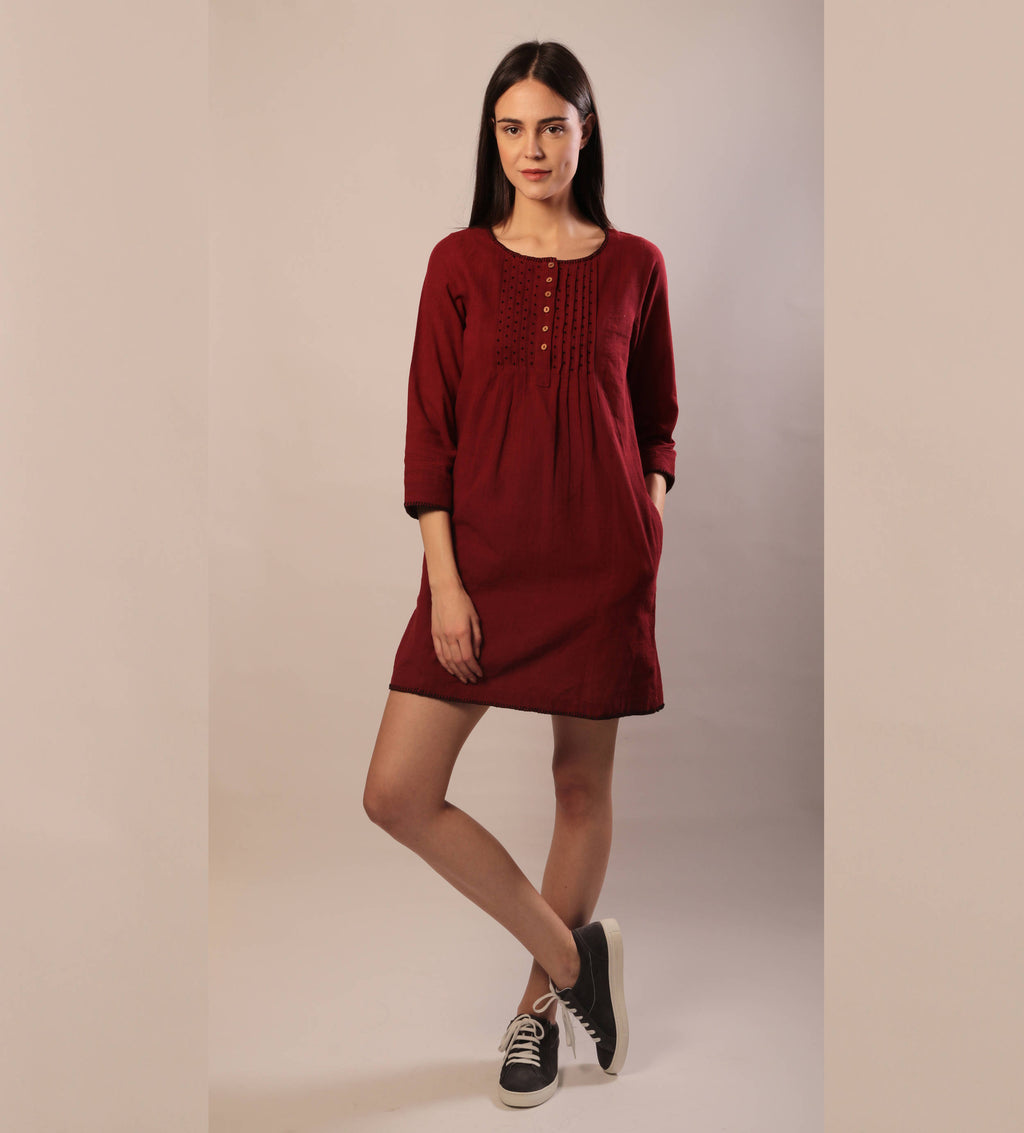 Rene dress in red khadi cotton