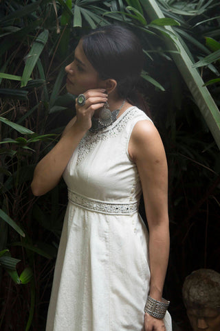 Lara festive dress in hand embroidered khadi cotton