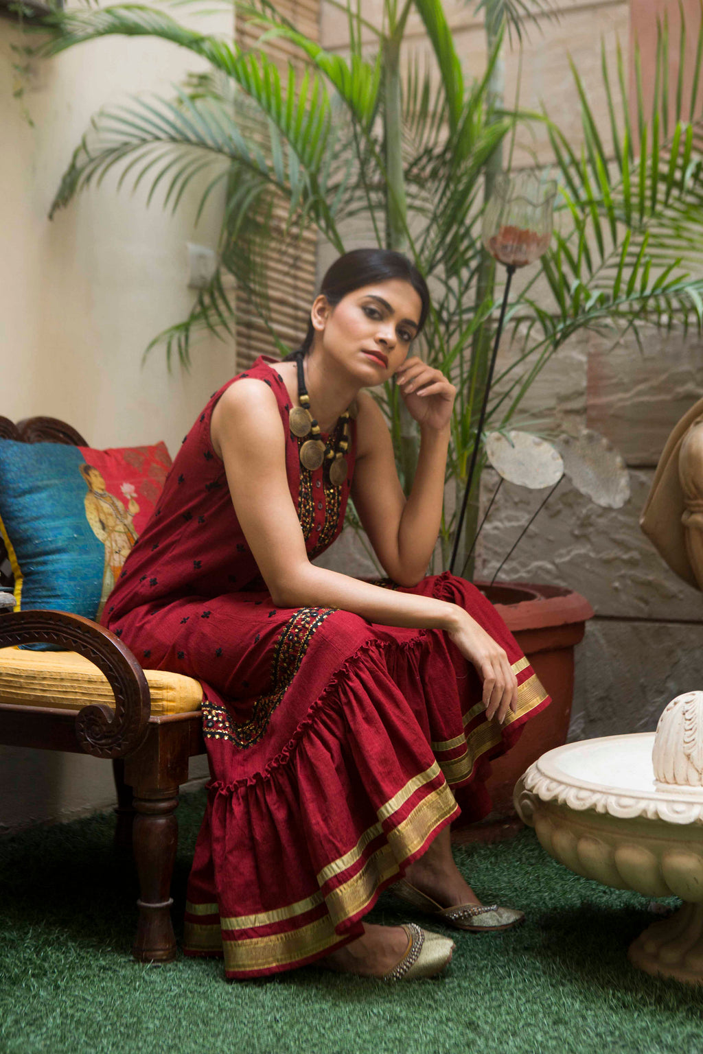Jacqueline Festive dress in hand embroidered khadi cotton