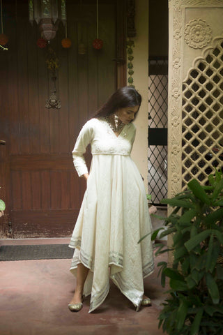 Laeticia festive dress in hand embroidered khadi cotton