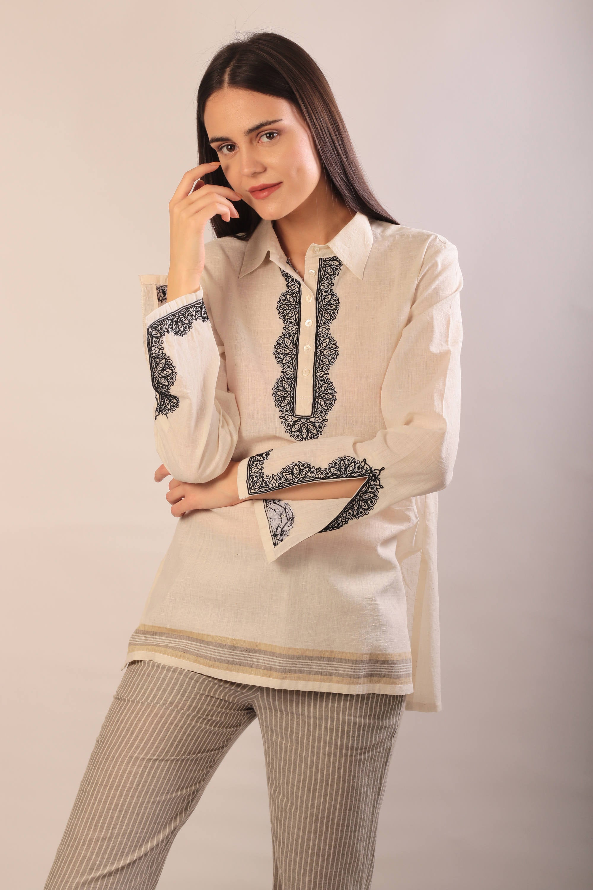 Susan blouse in hand embroidered khadi cotton