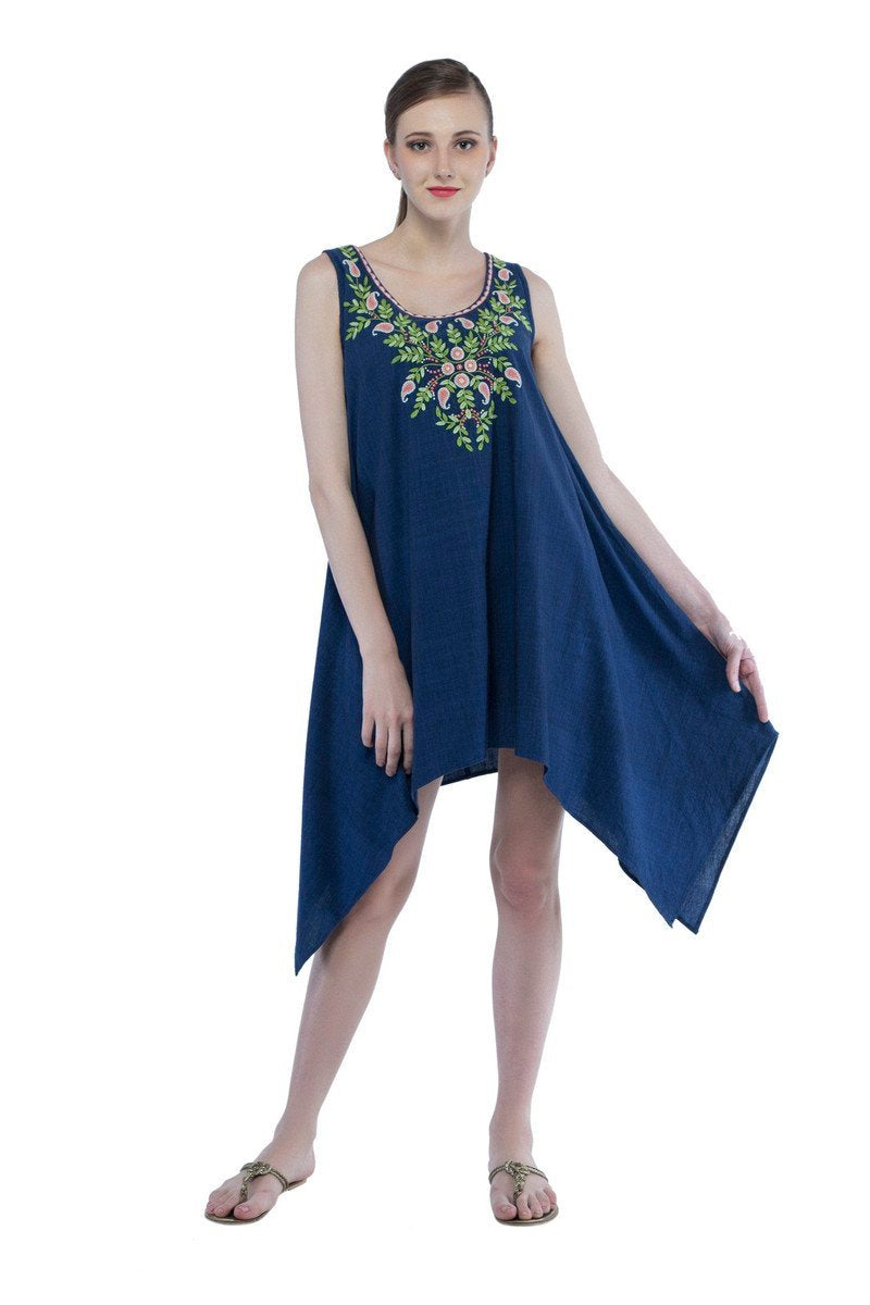 Diane dress in hand embroidered khadi cotton