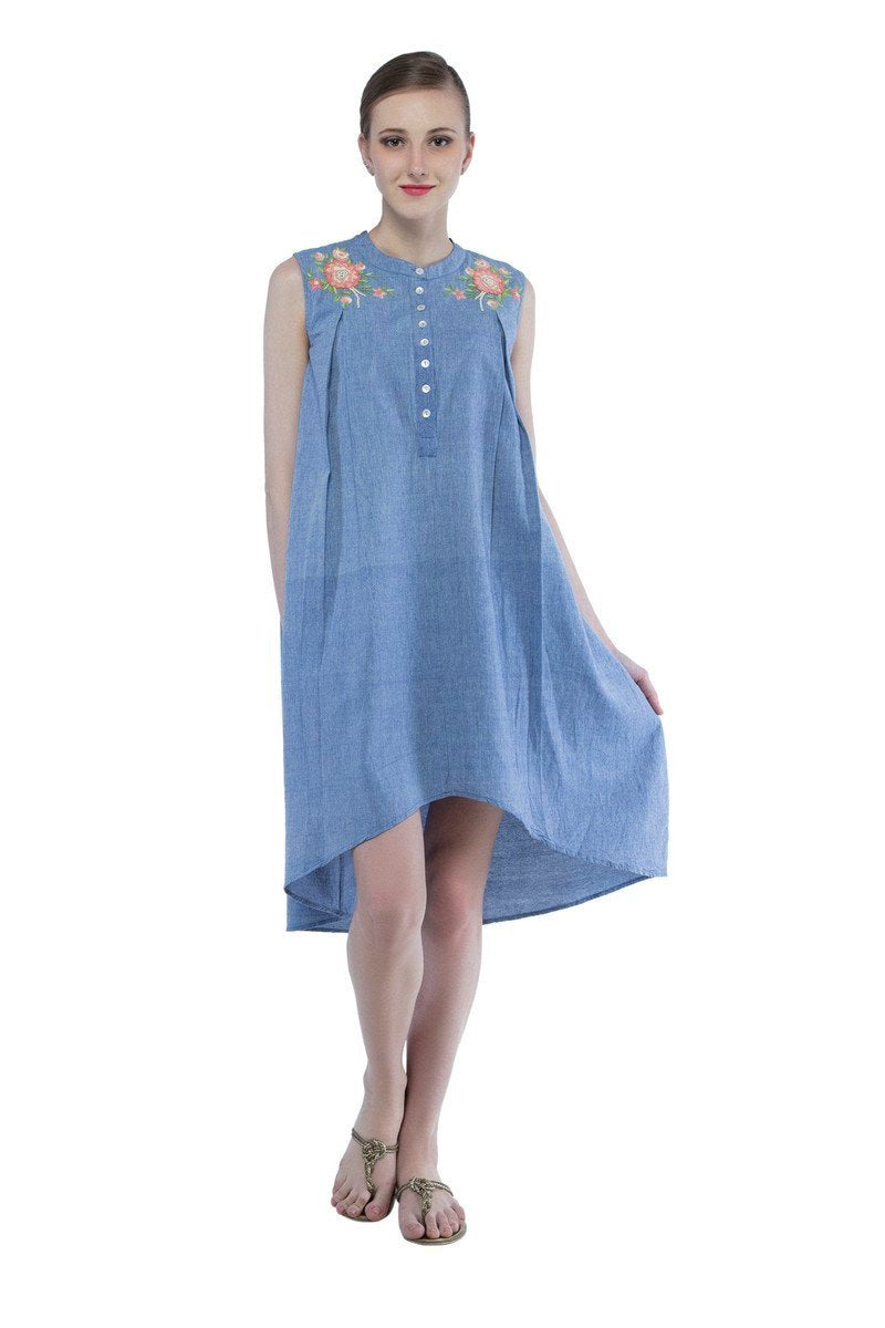 Mara dress in hand embroidered khadi cotton
