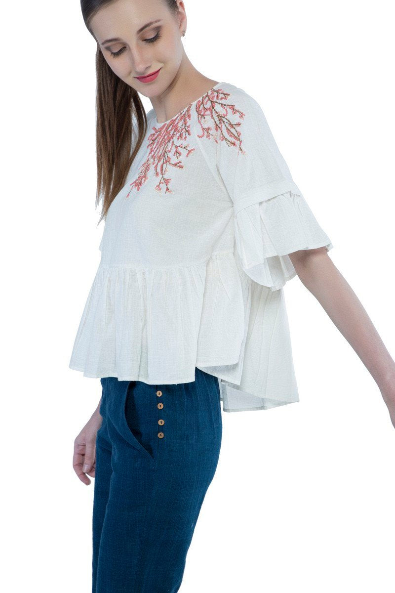 Samara top in hand embroidered khadi cotton