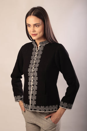Paloma Jacket in hand embroidered khadi cotton