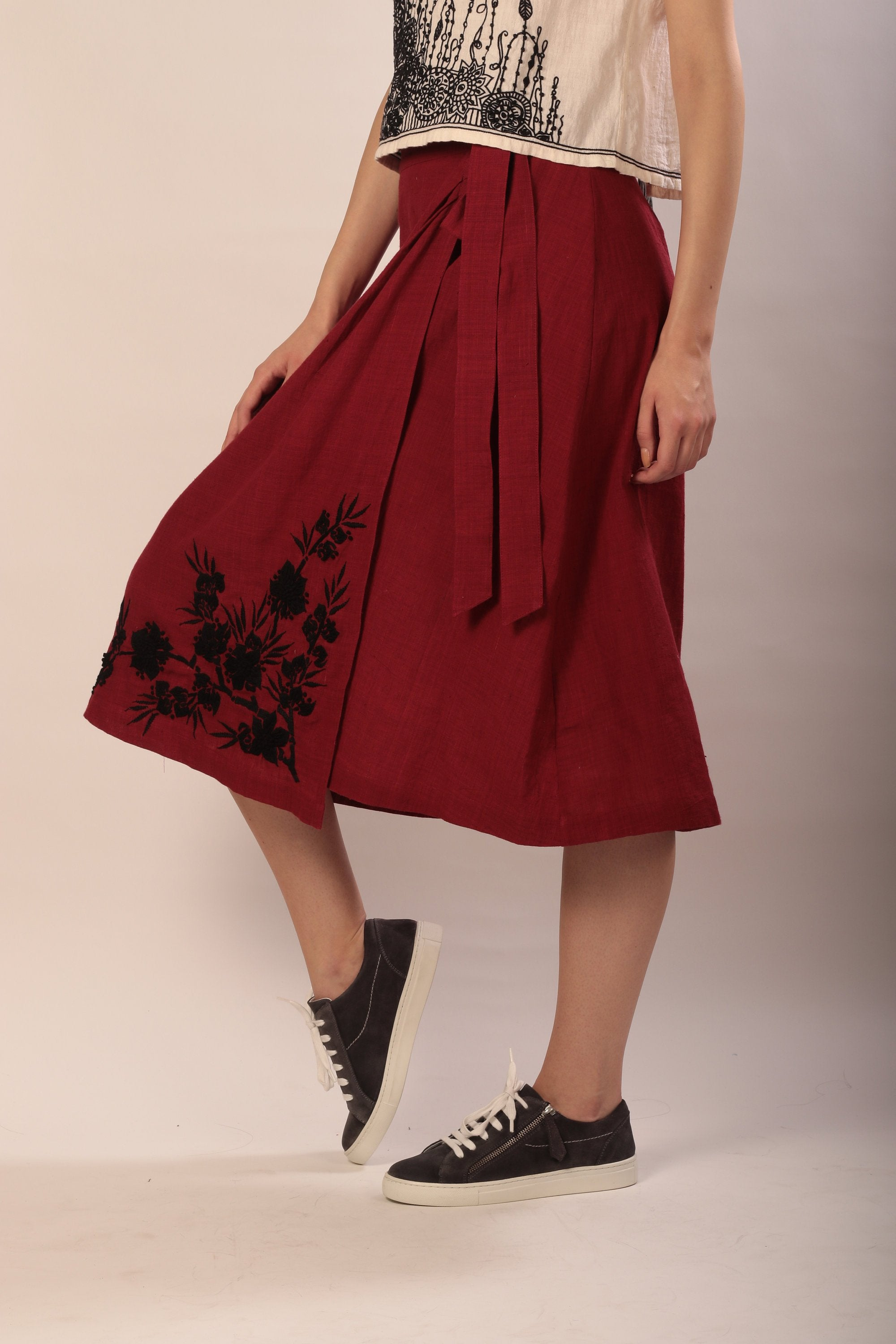 Sabrina skirt in red hand embroidered khadi cotton