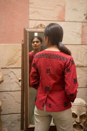 Janice jacket in red hand embroidered khadi cotton