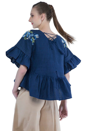 Samara top in hand embroidered Indigo khadi cotton