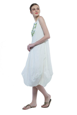 Maria draped hem dress in hand embroidered khadi