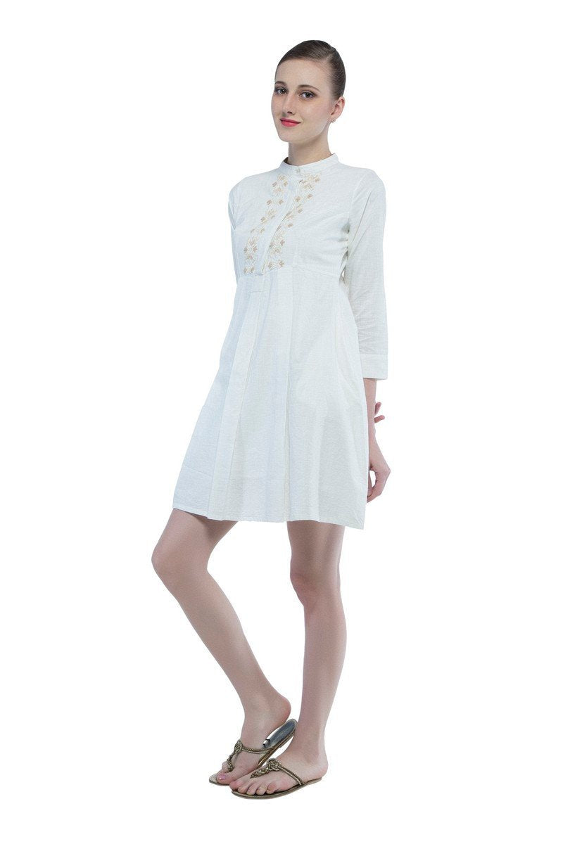 Jessica dress in hand embroidered khadi cotton