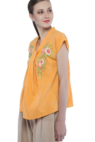 Violette top in hand embroidered khadi cotton
