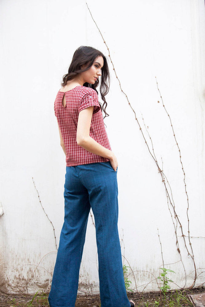 Erin top in red yarn dyed checks khadi cotton