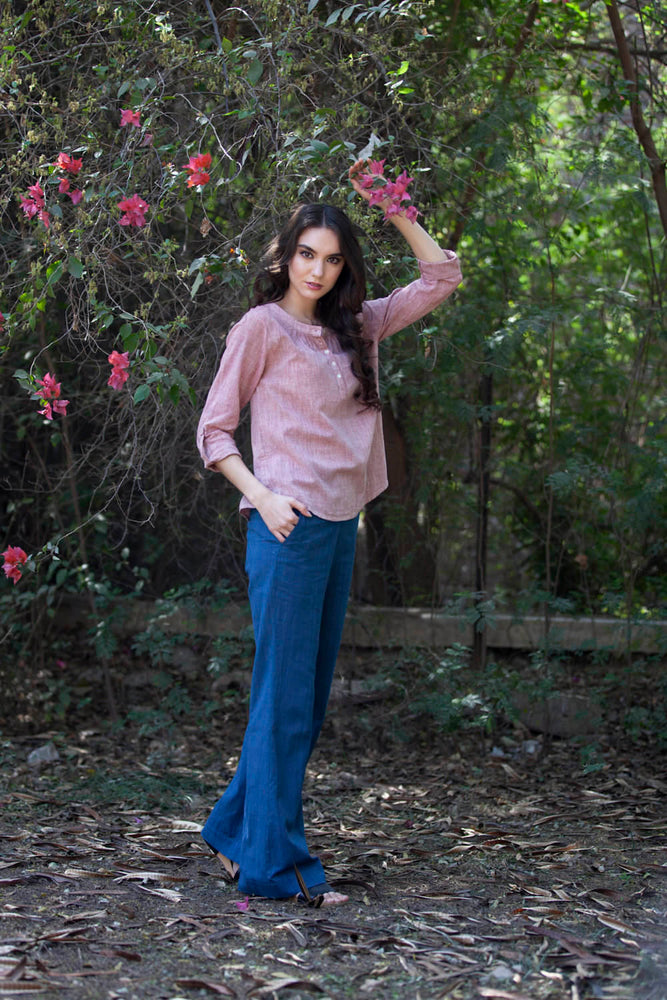 Natalie blouse in red chambray khadi cotton