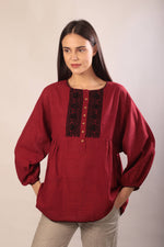 Lyla blouse in red hand embroidered khadi cotton