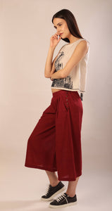 Paige pants in red  khadi cotton