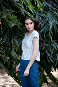 Erin top in yarn dyed khadi cotton