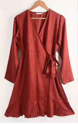 Nicola dress in red ahimsa silk