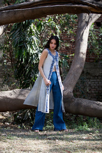 Carissa cape in hand embroidered striped khadi cotton