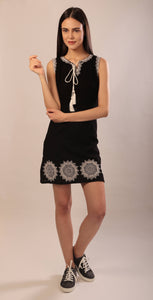 Gabby dress in hand embroidered khadi cotton