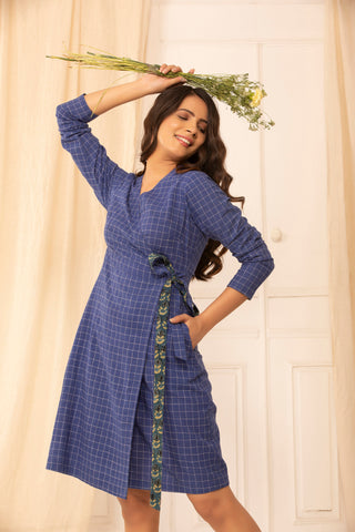 Angelina wrap dress in khadi cotton checks