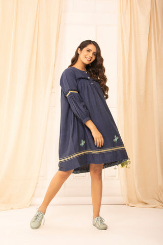 Judith dress in hand woven khadi cotton with hand embroidery