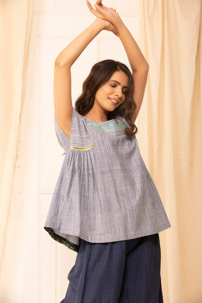 Chelsea Top in hand embroidered khadi cotton slub