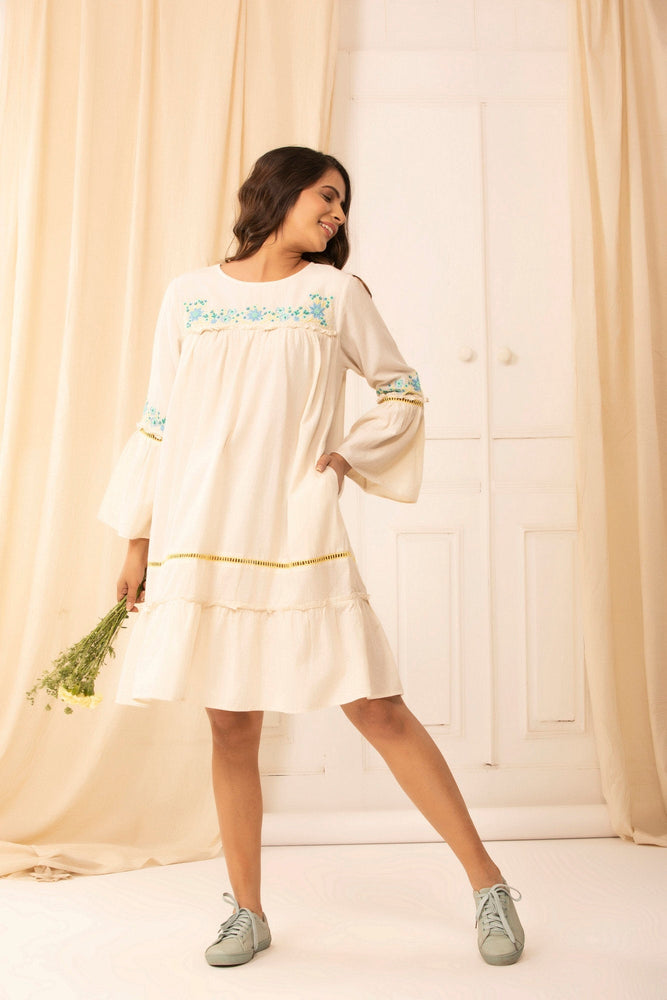 Prairie dress in hand embroidered Malkha