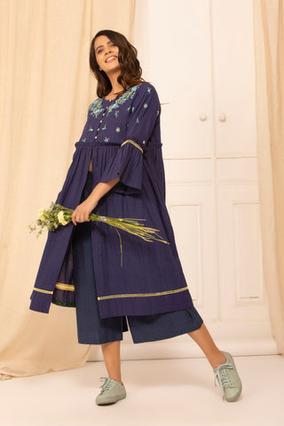 Kara jacket in Indigo malkha with hand embroidery