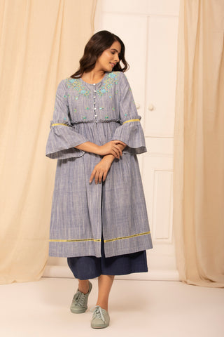 Kara jacket in Slub Indigo malkha with hand embroidery