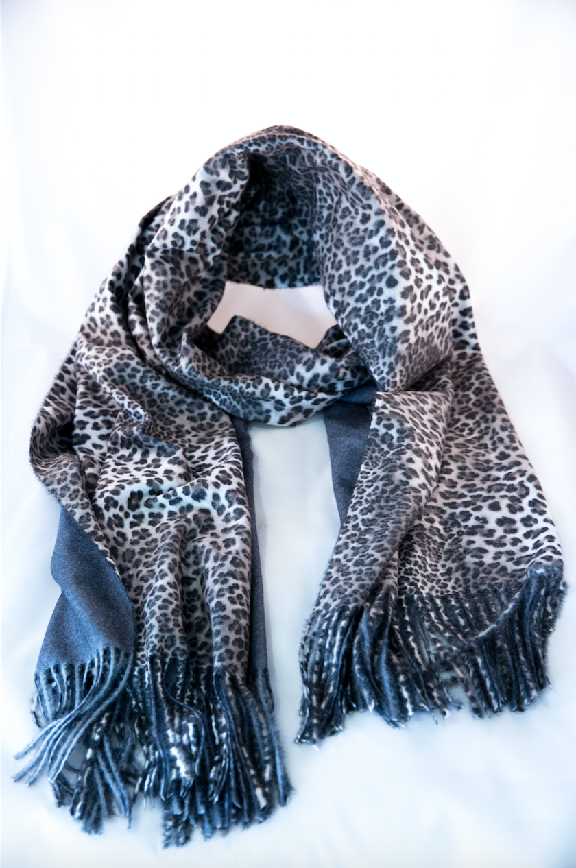 Cheetah Scarf- Charcoal