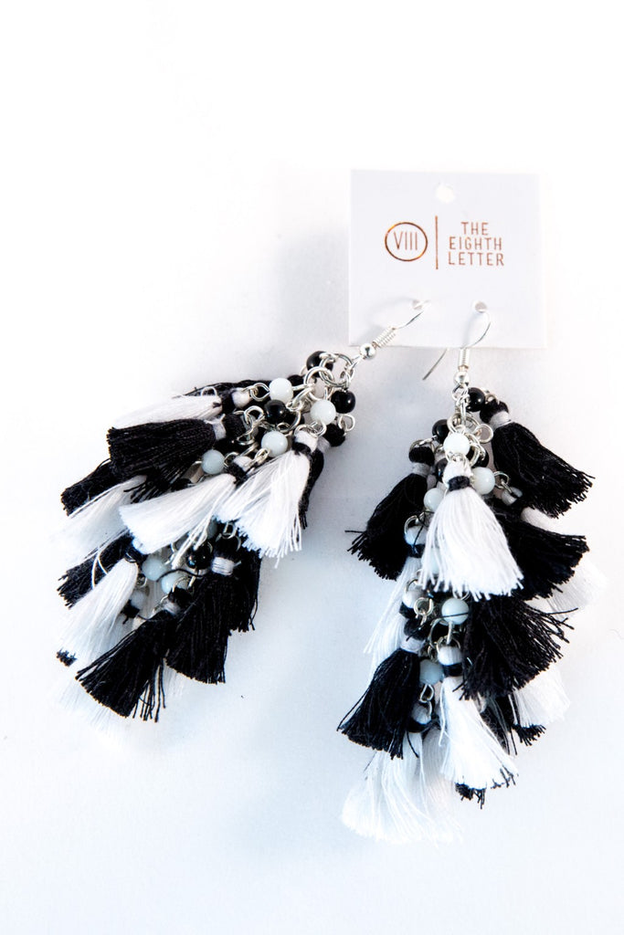 Flock Earring - Black & White