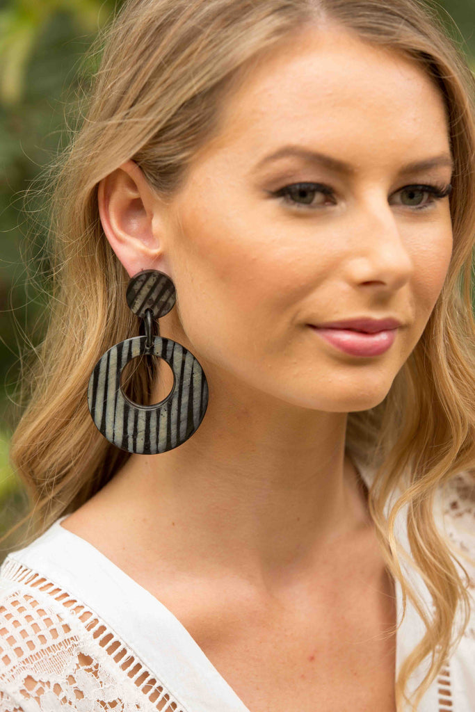 Zebra Earring - Black