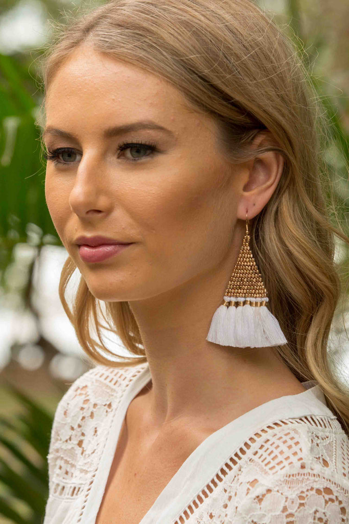 Pharaoh Earring - White