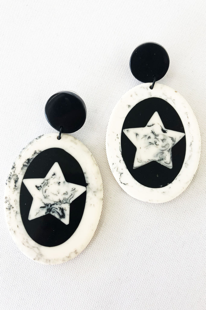 Mez Earring - Black + White