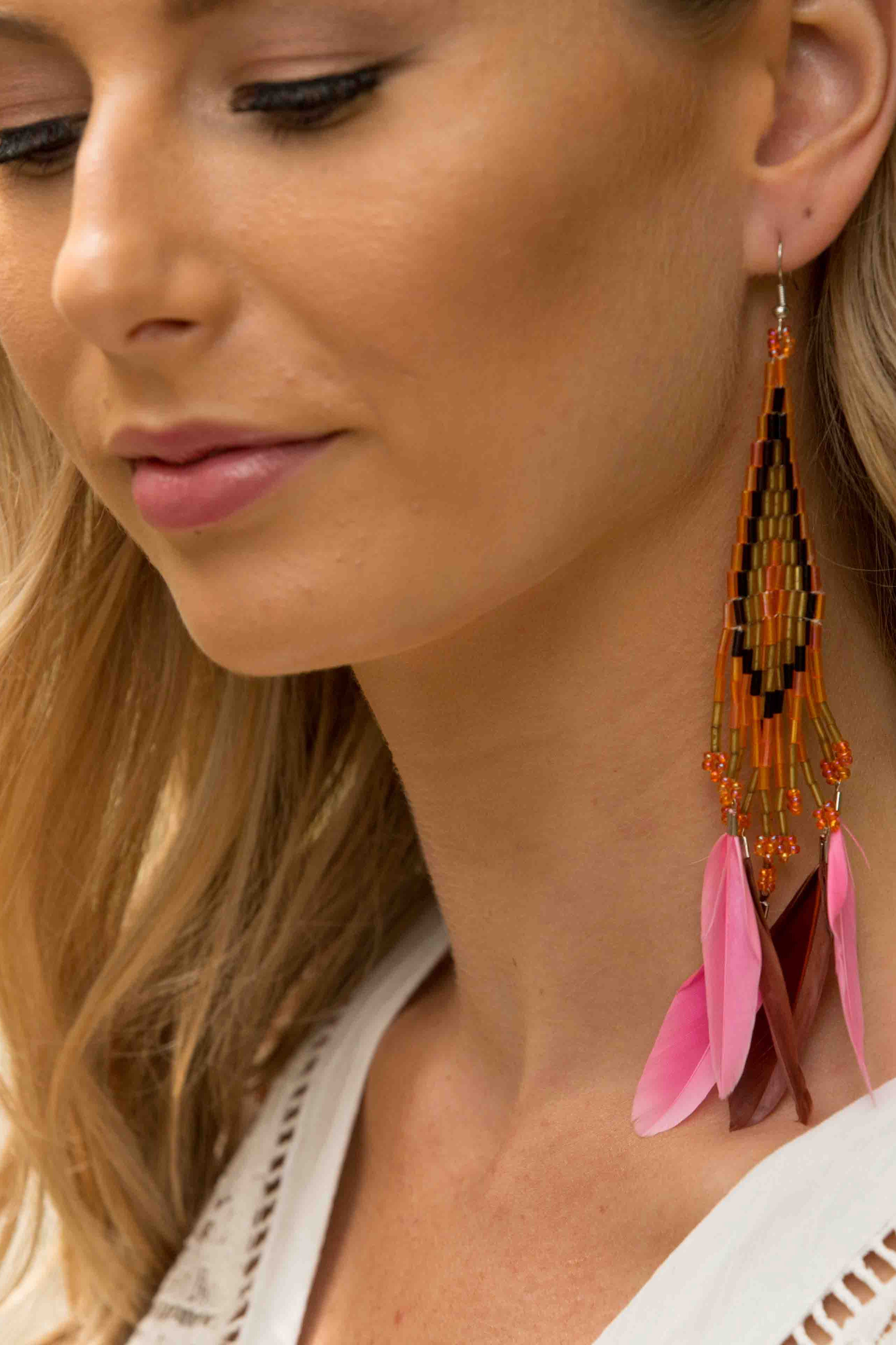 Aztec Earring - Orange