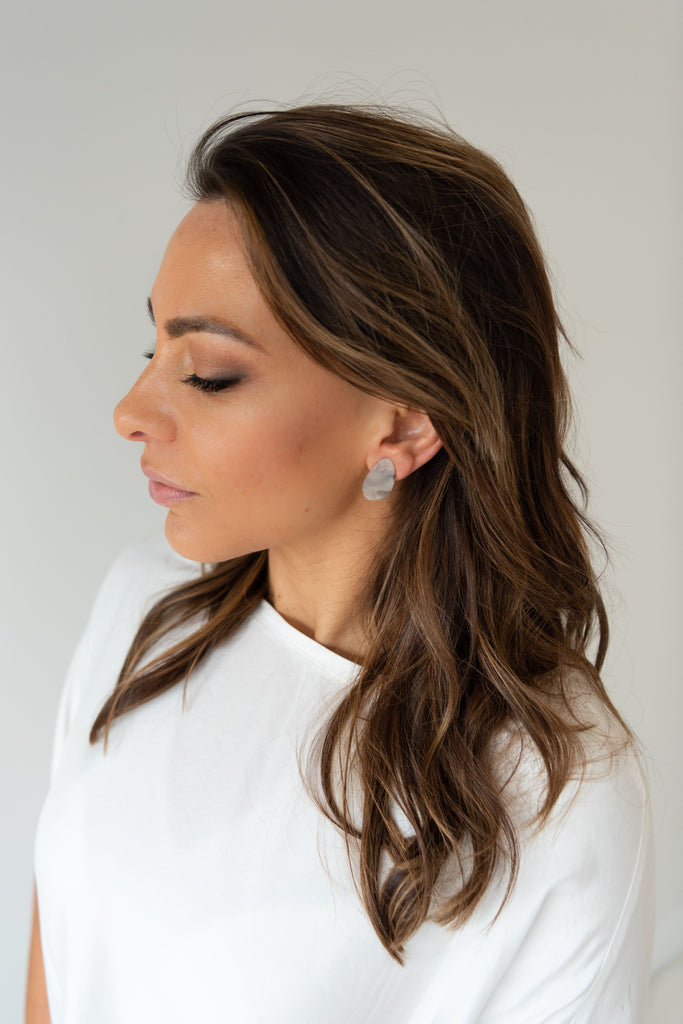 Tate Earring - Light Marble