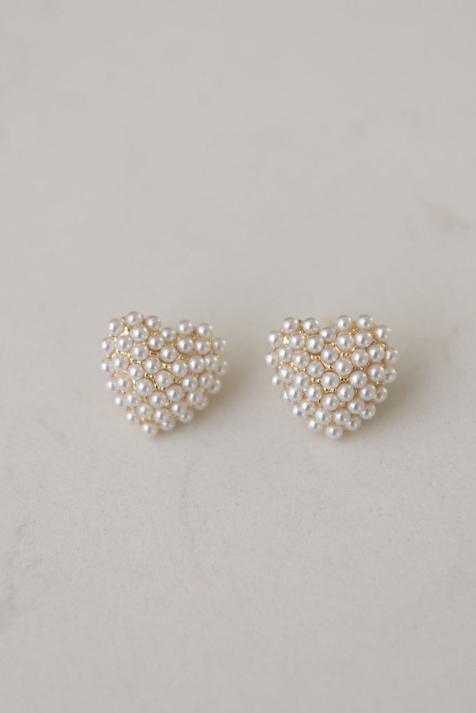Aggy Heart Earring Gold & Pearl