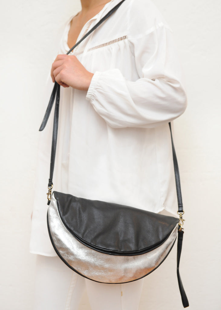 Black & Silver Reversible Round Bag / Clutch