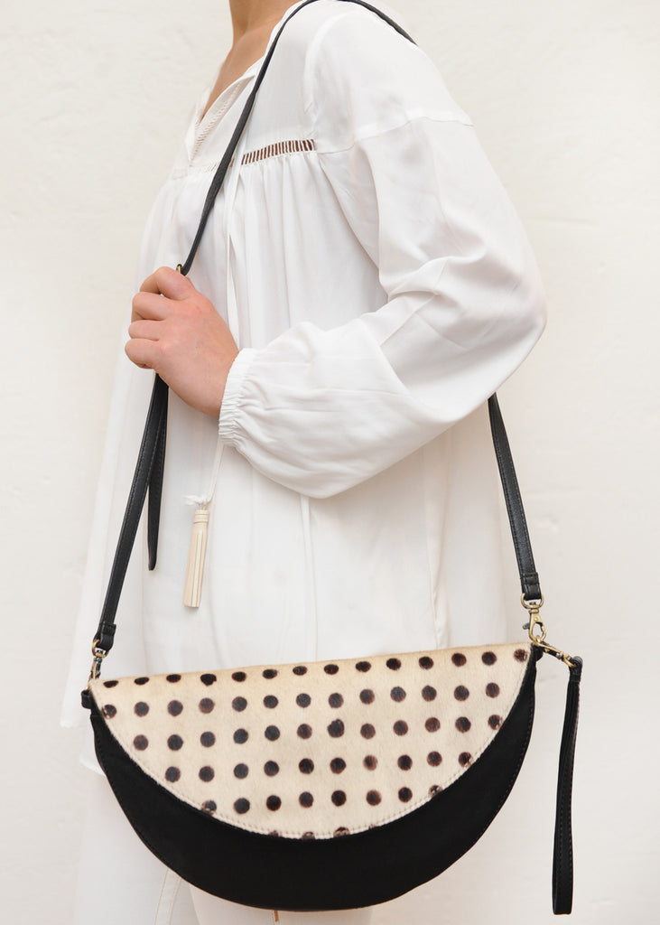 Black & Polka Dot Hide Reversible Round Bag / Clutch