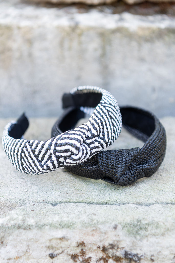 Elisa Headband - Black & White Aztec