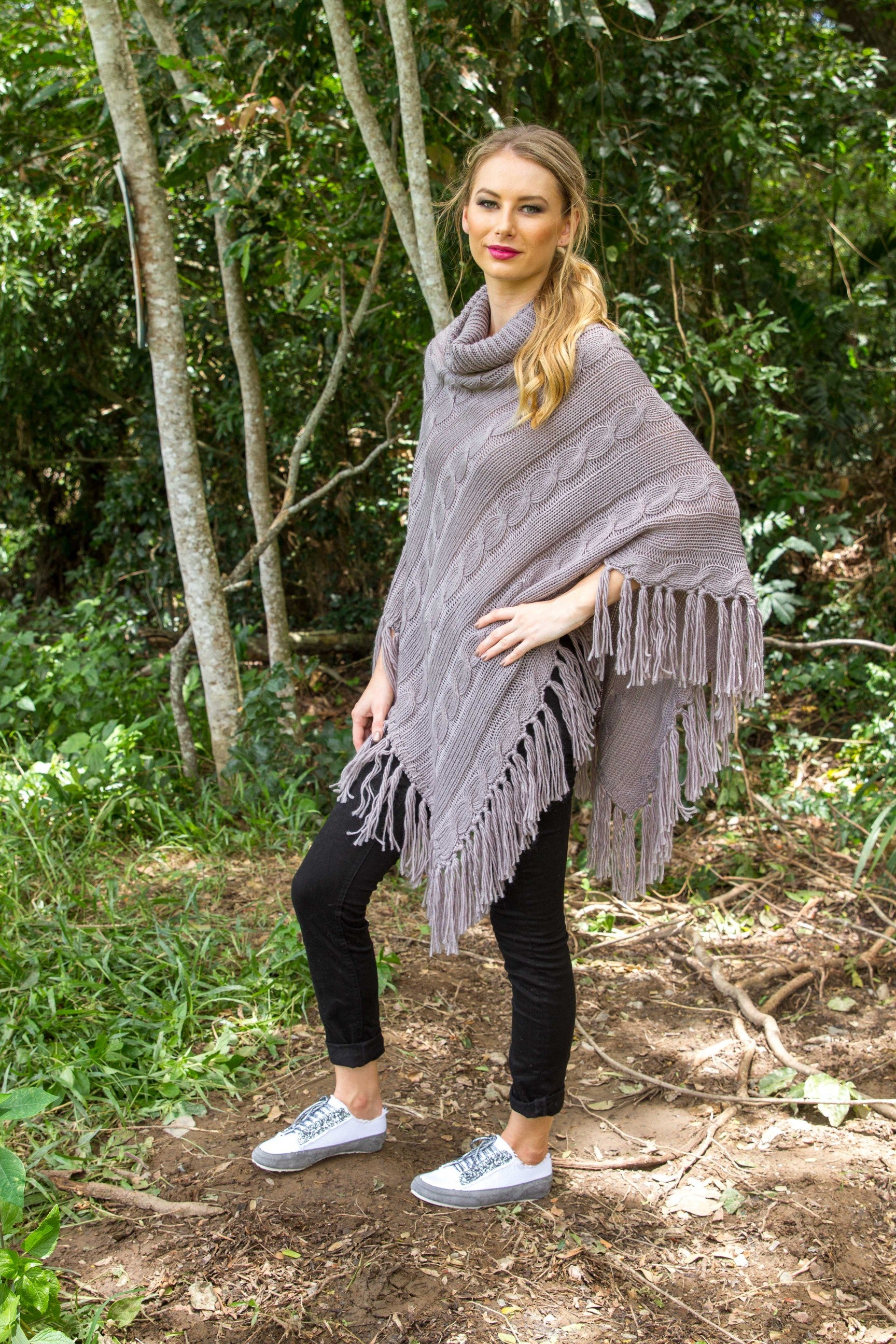 FINLEY PONCHO - Pewter