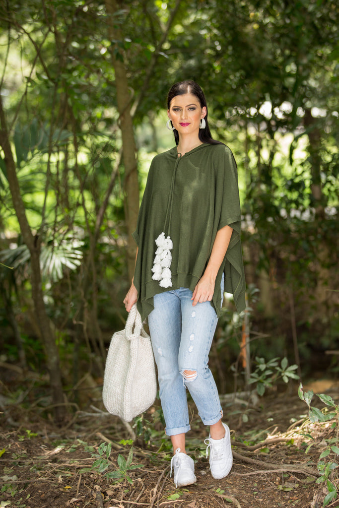 BEECH PONCHO - Olive