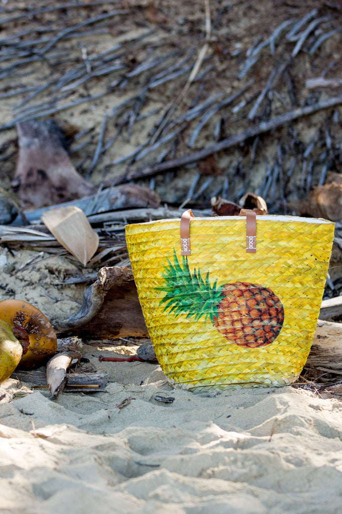 Pina Colada Basket Bag - Yellow