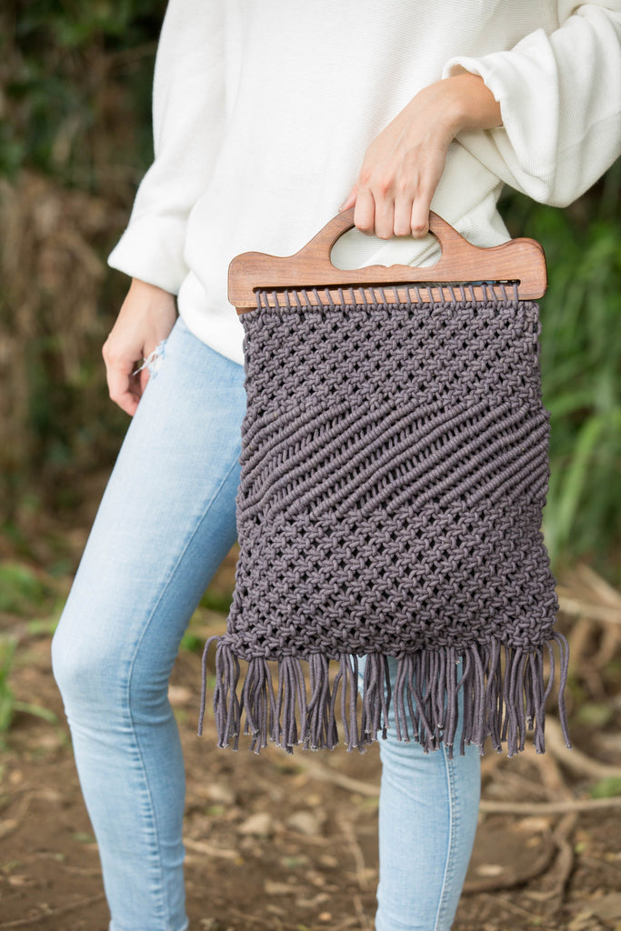 Pixie Macrame Bag - Charcoal