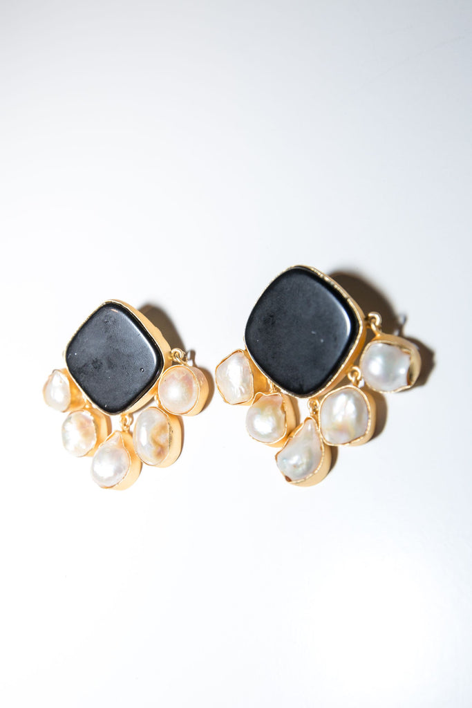 Royal Earring - Black Onyx & Mother of Pearl